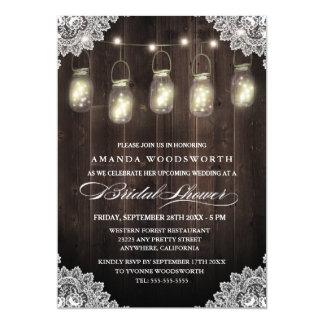 Barn Wood Lace Mason Jar Bridal Shower Invitations