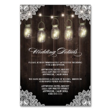 Barn Wood Lace Mason Jar Wedding Enclosure Cards