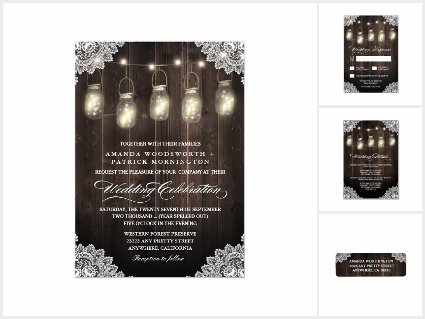 Barn Wood Lace Mason Jar Wedding Invitations Set