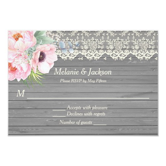 Barn Wood Lace Peonies Anemones Post Wedding RSVP Invitation