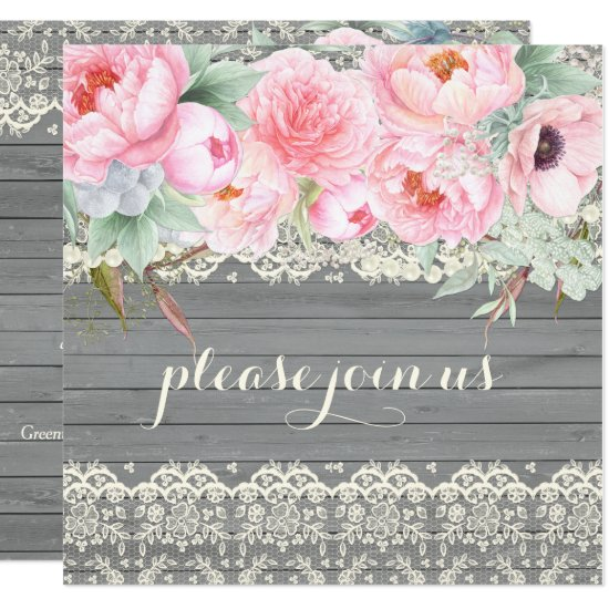 Barn Wood Lace Peonies Anemones Watercolor Invitation