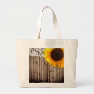 barn wood lace rustic country sunflower large tote bag