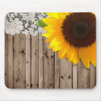 barn wood lace rustic country sunflower mouse pad