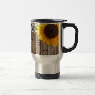 barn wood lace rustic country sunflower travel mug