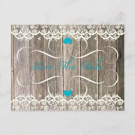 Barn Wood Lace Teal Hearts Swirls Save The Date Announcement Postcard