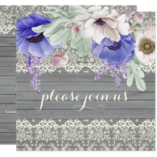 Barn Wood Lace Watercolor Blue White Anemones Invitation