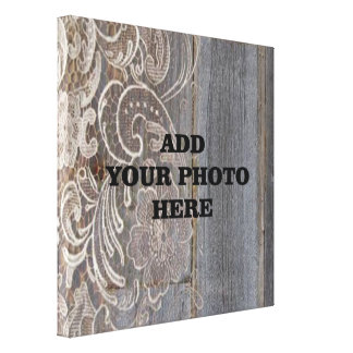 barn wood lace western country wedding photo canvas print
