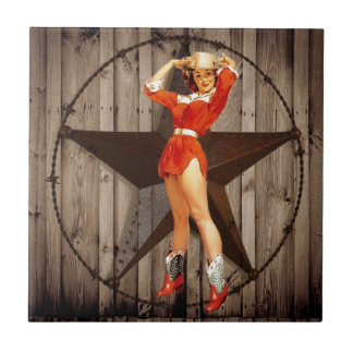 Barn wood Lone Star western country Cowgirl Ceramic Tile