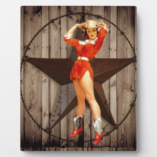 Barn wood Lone Star western country Cowgirl Plaque