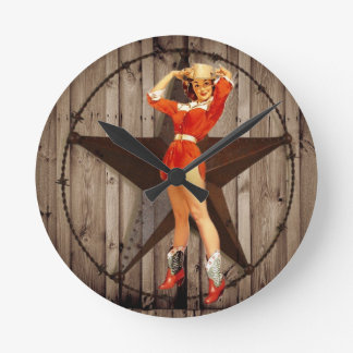 Barn wood Lone Star western country Cowgirl Round Clock