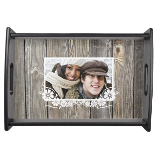 Barn Wood Look Custom Photo Serving Tray