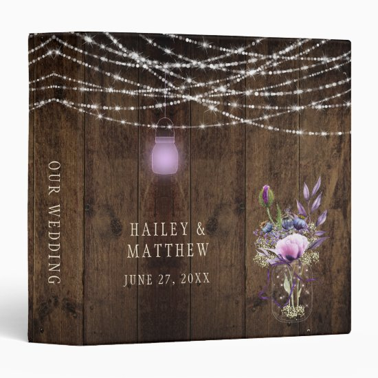 Barn Wood Mason Jar Lights Violet Flowers Wedding 3 Ring Binder