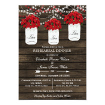 Barn wood mason jar poinsettias rehearsal dinner card