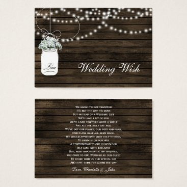 barn wood mason jar rustic wedding details card