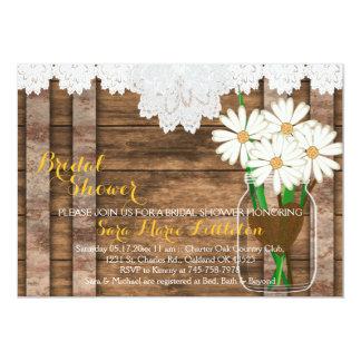 Barn Wood Mason Jar - White Daisies Bridal Shower Card