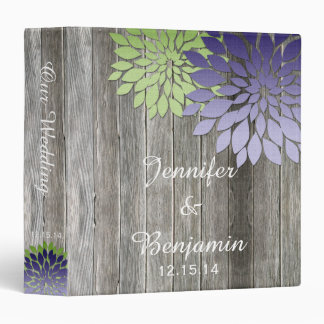 Barn Wood Modern Purple Green Petals Wedding Album Binder