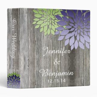 Barn Wood Modern Purple Green Petals Wedding Album Binder