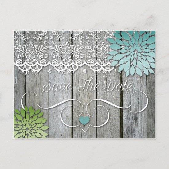 Barn Wood Modern Teal Green Petals Save The Date Announcement Postcard