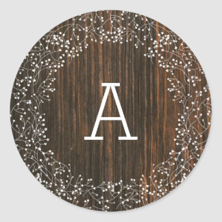 Barn Wood Monogrammed Baby's Breath Wedding Classic Round Sticker