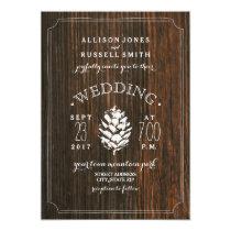 Barn Wood & Pine Cone Rustic Wedding Card