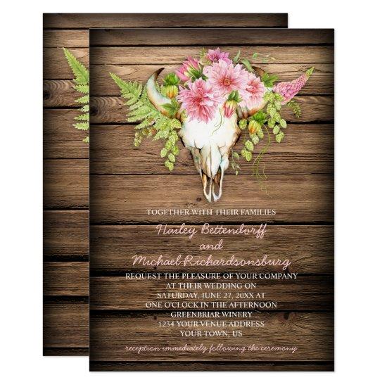 Barn Wood Pink Flowers Cow Skull Horns Wedding Invitation