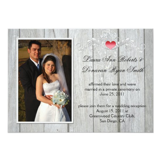 Barn Wood Pink Heart Photo After Wedding Invitation