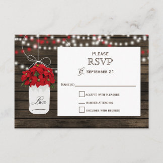 Barn wood poinsettia mason jar rustic wedding rsvp