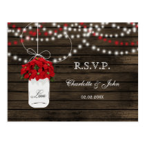 Barn wood poinsettia mason jar rustic wedding rsvp postcard