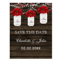 Barn wood poinsettia mason jar save the date postcard