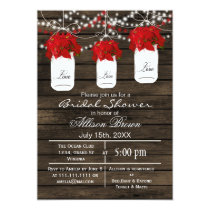 Barn wood poinsettias mason jar bridal shower card