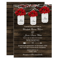 Barn wood poinsettias mason jar rustic wedding card
