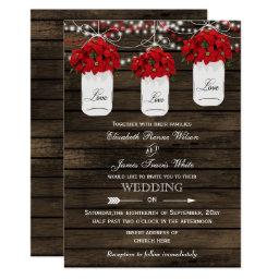 Mason Jars Poinsettias Wedding Invitations