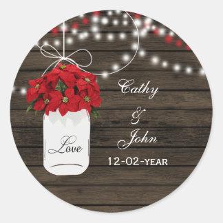 Barn wood poinsettias mason jar rustic wedding classic round sticker