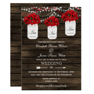 Barn wood poinsettias mason jar rustic wedding invitation