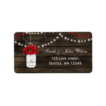 Barn wood poinsettias mason jar rustic wedding label