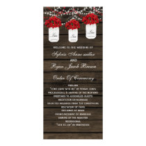 Barn wood poinsettias mason jar wedding programs