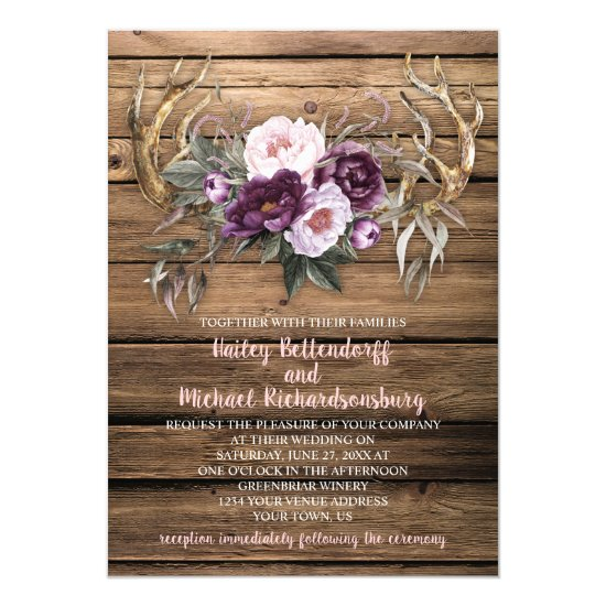 Barn Wood Purple Plum Peonies Antlers Wedding Invitation