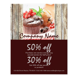 barn wood rustic bakery chocolate cupcake flyer