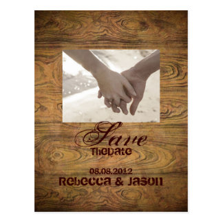 Barn wood Rustic Country Wedding save the date Postcard