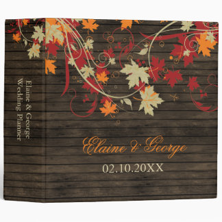 Barn Wood Rustic Fall Leaves Wedding 3 Ring Binder