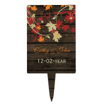 Barn Wood Rustic Fall Leaves Wedding Cake Topper