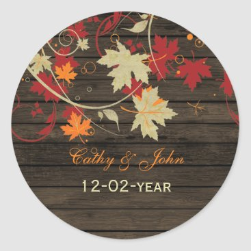 Barn Wood Rustic Fall Leaves Wedding Classic Round Sticker