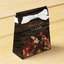 Barn Wood Rustic Fall Leaves Wedding Favor Box