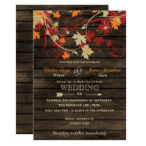 Barn Wood Rustic Fall Leaves Wedding invitations