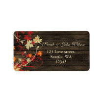 Barn Wood Rustic Fall Leaves Wedding Label