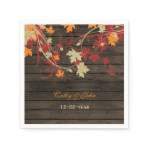 Barn Wood Rustic Fall Leaves Wedding Paper Napkin