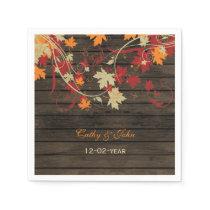 Barn Wood Rustic Fall Leaves Wedding Paper Napkin