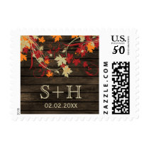 Barn Wood Rustic Fall Leaves Wedding Postage