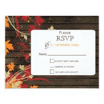 Barn Wood Rustic Fall Leaves Wedding rsvp Card