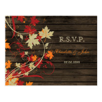 Barn Wood Rustic Fall Leaves Wedding rsvp Postcard